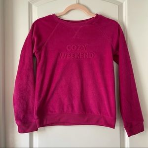 Cat and Jack Pink fuzzy Crew Neck Sweater   L